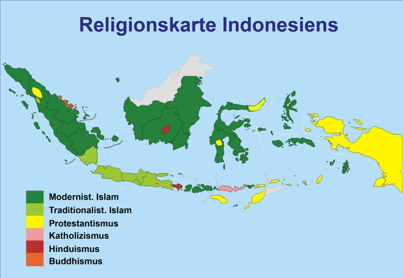 Karte der Religionen in Indonesien