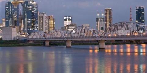 Yodo Fluss mit Skyline - Osaka