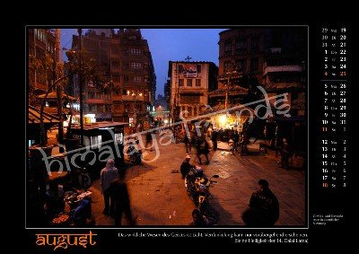 Nepal Kalender - Monat August