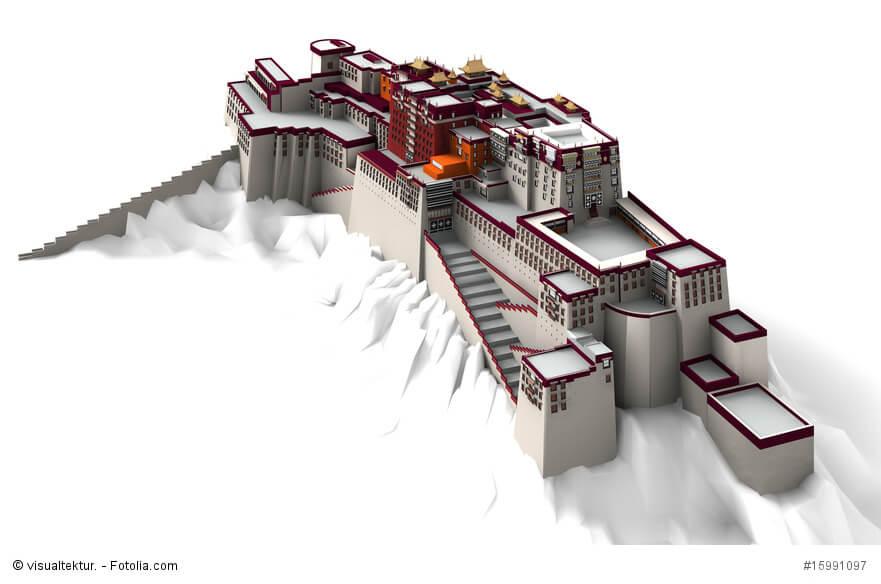 3d-Ansicht vm Potala Palast in Lhasa