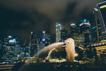 city of singapore night statue